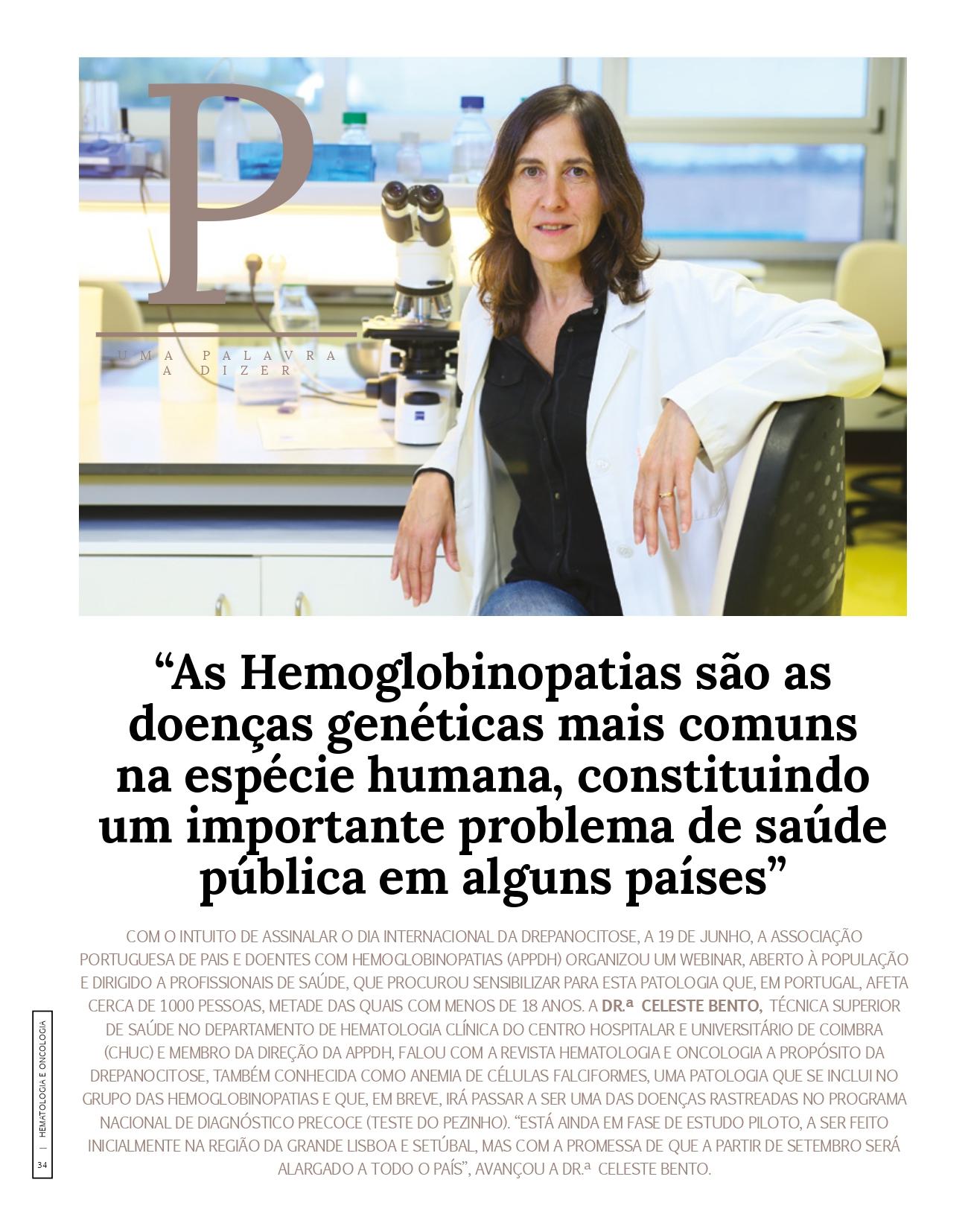 Revista Hematologia Oncologia - Entrevista à Dr.ª Celeste Bento sobre as Hemoglobinopatias